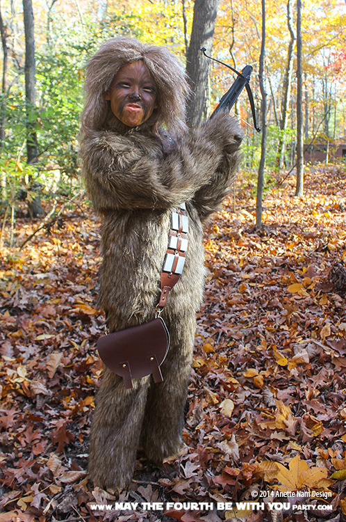 DIY Chewbacca Costume. Check out all our other Star Wars costumes on our blog! #chewbacca #starwars #starwarsparty #maythefourthbewithyou #starwarsbirthday #starwarscostume #halloweencostume #wookiee #cosplay maythefourthbewithyoupartyblog.com