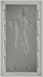 Star Wars Food: Han Solo a la Mode from Silicone Mold /// Check out our blog for lots of Star Wars Party food recipes and downloadable labels! Great for a Birthday Party or a May the Fourth be with you Party. /// #starwars #starwarsparty #maythefourthbewithyou #starwarsbirthday #starwarsfood #banthamilk #chocolate #brownie #hansolo maythefourthbewithyoupartyblog.com