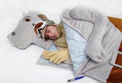 Taun-taun Sleeping Bag /// Check out all our other Star Wars costumes on our blog! #starwars #starwarsparty #maythefourthbewithyou #starwarsbirthday #tauntaun #luke #hansolo #hoth maythefourthbewithyoupartyblog.com