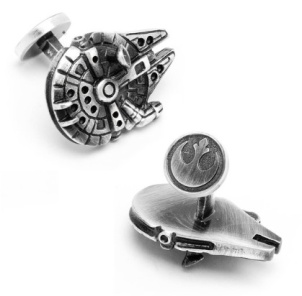 Millenium Falcon Cufflinks /// Check out all our other Star Wars gift ideas on our blog! // #starwars #starwarsparty #maythefourthbewithyou #starwarsbirthday #milleniumfalcon #cufflinks maythefourthbewithyoupartyblog.com
