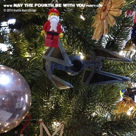 Star Wars Christmas TIE-Interceptor Ornament // Check out our blog for lots more Star Wars decor. // #starwars #starwarsparty #maythefourthbewithyou #starwarsbirthday #tieinterceptor #Christmas maythefourthbewithyoupartyblog.com