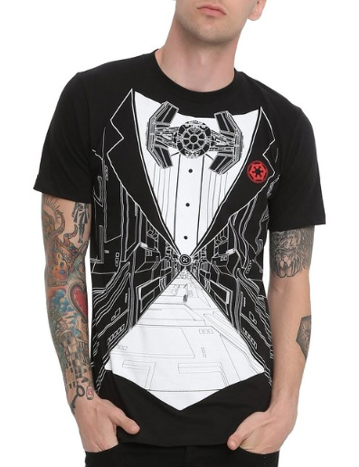 TIE Fighter Tuxedo T-shirt /// Check out all our other Star Wars costumes on our blog! // #starwars #starwarsparty #maythefourthbewithyou #starwarsbirthday #admiralackbar #tiefighter #tshirt maythefourthbewithyoupartyblog.com