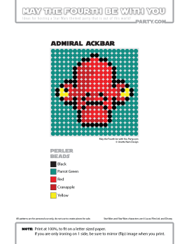 Admiral Gial Ackbar Perler Pattern /// We add new patterns to our blog every week! Click the URL and follow us to make sure you don't miss any! /// Star Wars perler, hama bead, cross-stitch, knitting, Lego, pixel pattern /// Note: Patterns are ©, and your work must include © if posted, and can not be sold. See blog for complete ©. #pixel #pixelart #perler #perlerbeads #hama #hamabeads #starwars #crossstitch #lego #knitting #mosaic #ackbar #admiralackbar maythefourthbewithyoupartyblog.com