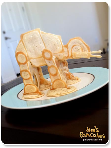 Star Wars Food: Bantha Milk Pancakes (TIE-Fighter, Darth Vader, X-Wing, Millennium Falcon, and Yoda Shaped) /// Check out our blog for lots of Star Wars Party food recipes and downloadable labels! Great for a Birthday Party or a May the Fourth be with you Party. /// #starwars #starwarsparty #maythefourthbewithyou #starwarsbirthday #starwarsfood #pancakes #banthamilk #tieighter, #darthvader #xwing #millenniumfalcon #yoda maythefourthbewithyoupartyblog.com © Jims Star-wars-pancakes