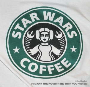 Star Wars T-shirt. Check out all our other Star Wars shirts and costumes on our blog! #starbucks #starwars #tshirt #starwarsparty #maythefourthbewithyou #starwarsbirthday #starwarscostume #leia #princessleia maythefourthbewithyoupartyblog.com