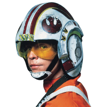 DIY Luke's X-wing pilot helmet and Costume. Check out all our other Star Wars costumes on our blog! #starwars #starwarsparty #maythefourthbewithyou #starwarsbirthday #starwarscostume #halloweencostume #luke #xwing #xwingpilot #cosplay maythefourthbewithyoupartyblog.com