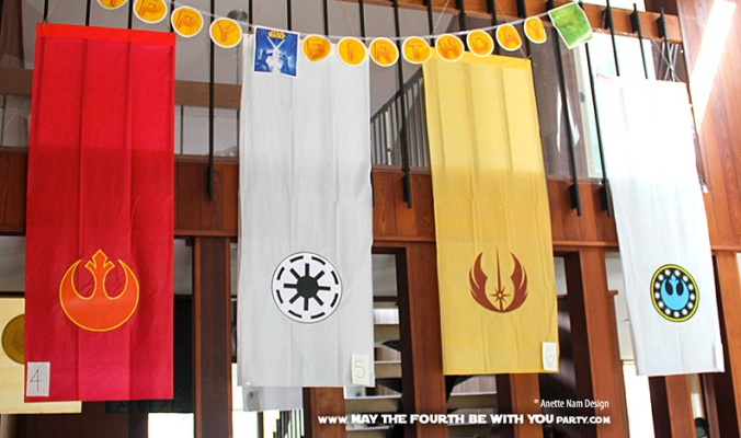 Star Wars Flags and Banners (Downloadable Empire and Rebel Symbols) // Check out our blog for lots more Star Wars crafts and decor. // #starwars #starwarsparty #maythefourthbewithyou #starwarsbirthday #banners #rebels #empire maythefourthbewithyoupartyblog.com