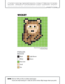 Wicket Ewok Perler Pattern /// We add new patterns to our blog every week! Click the URL and follow us to make sure you don't miss any! /// Star Wars perler, hama bead, cross-stitch, knitting, Lego, pixel pattern /// Note: Patterns are ©, and your work must include © if posted, and can not be sold. See blog for complete ©. #pixel #pixelart #perler #perlerbeads #hama #hamabeads #starwars #crossstitch #lego #knitting #mosaic #wicket #ewok maythefourthbewithyoupartyblog.com