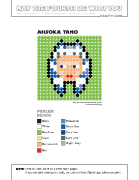 Ahsoka Tano Perler Pattern /// We add new patterns to our blog every week! Click the URL and follow us to make sure you don't miss any! /// Star Wars perler, hama bead, cross-stitch, knitting, Lego, pixel pattern /// Note: Patterns are ©, and your work must include © if posted, and can not be sold. See blog for complete ©. #pixel #pixelart #perler #perlerbeads #hama #hamabeads #starwars #crossstitch #lego #knitting #mosaic #ahsoka #ahsokatano maythefourthbewithyoupartyblog.com