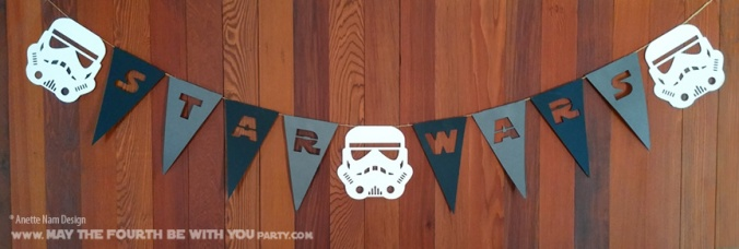 Star Wars Garland and Flags (Downloadable Pattern) // Check out our blog for lots more Star Wars crafts and decor. // #starwars #starwarsparty #maythefourthbewithyou #starwarsbirthday #banners #stormtrooper maythefourthbewithyoupartyblog.com