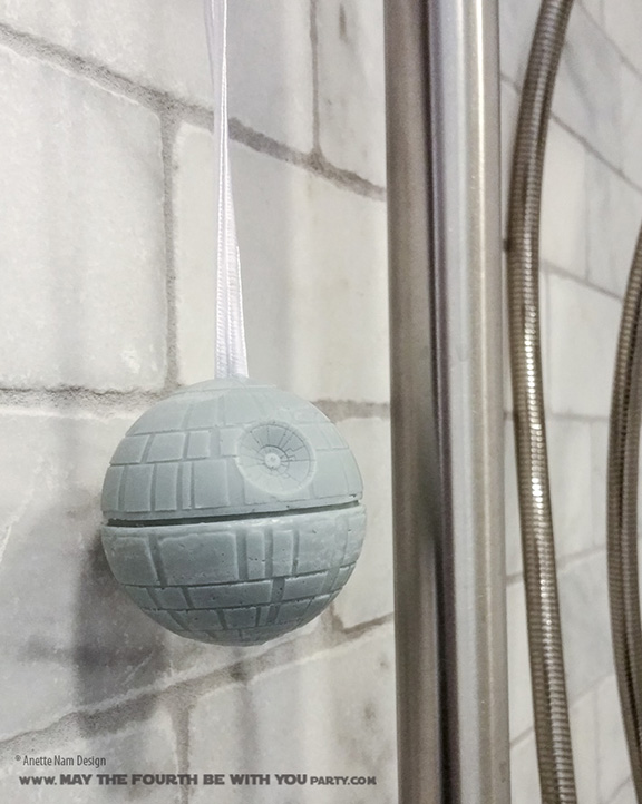 DIY Death Star Soap on a Rope (from Silicone Mold) /// Check out our blog for lots of Star Wars Party crafts and ideas /// #starwars #starwarsparty #maythefourthbewithyou #starwarsbirthday #deathstar #soap maythefourthbewithyoupartyblog.com
