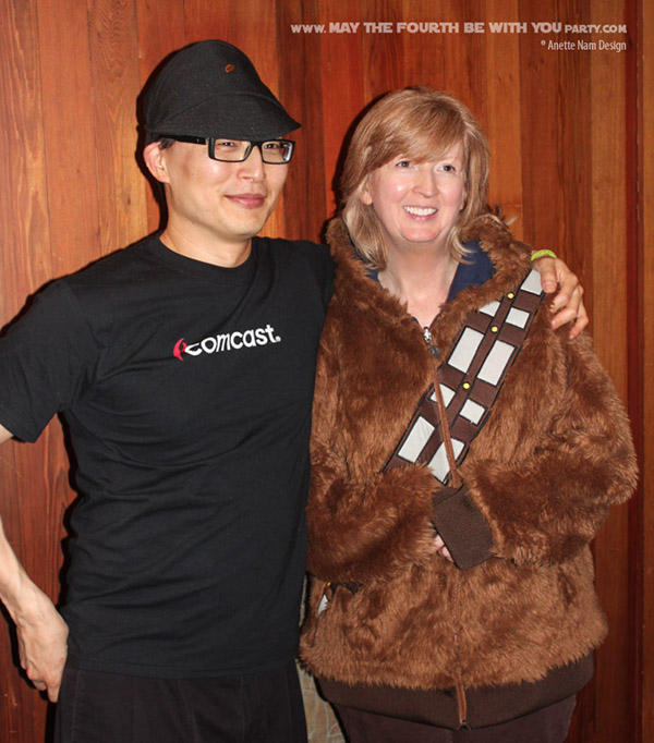 DIY Imperial Officer Costumes and Chewbacca Jacket. Check out all our other Star Wars costumes on our blog! #starwars #starwarsparty #maythefourthbewithyou #starwarsbirthday #starwarscostume #halloweencostume #chewbacca #wookiee #imperialofficer #cosplay maythefourthbewithyoupartyblog.com