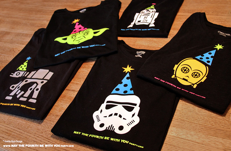 May the Fourth be with You Party T-shirts. This and many other patterns can be downloaded from our blog. /// Note: Patterns are ©, and your work must include © if posted, and can not be sold. See blog for complete ©. #stormtrooper #c3po #r2d2 #atat #yoda #starwars #tshirt #starwarsparty #maythefourthbewithyou #starwarsbirthday #starwarscostume maythefourthbewithyoupartyblog.com