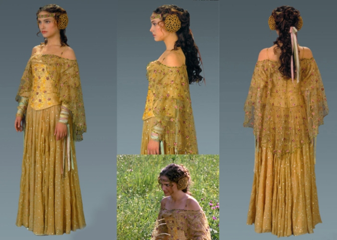 DIY Padme Amidala Picnic Dress Costume. Check out all our other Star Wars costumes on our blog! #amidala #starwars #starwarsparty #maythefourthbewithyou #starwarsbirthday #starwarscostume #halloweencostume #padmeamidala #cosplay maythefourthbewithyoupartyblog.com