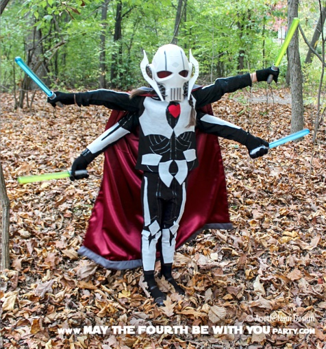 DIY General Grievous Costume. Check out all our other Star Wars costumes on our blog! #generalgrievous #starwars #starwarsparty #maythefourthbewithyou #starwarsbirthday #starwarscostume #halloweencostume #cosplay maythefourthbewithyoupartyblog.com