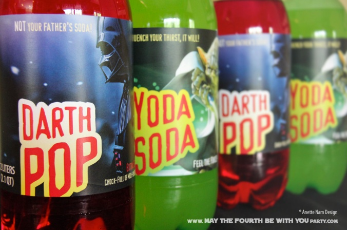 Star Wars Food: Downloadable Yoda Soda and Darth Pop 2 Liter Labels /// Check out our blog for lots of Star Wars Party food recipes and downloadable labels! Great for a Birthday Party or a May the Fourth be with you Party. /// #starwars #starwarsparty #maythefourthbewithyou #starwarsbirthday #starwarsfood #soda #darthvader #pop #yoda maythefourthbewithyoupartyblog.com