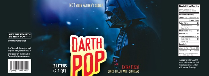Star Wars Food: Downloadable Darth Pop 2 Liter Labels /// Check out our blog for lots of Star Wars Party food recipes and downloadable labels! Great for a Birthday Party or a May the Fourth be with you Party. /// #starwars #starwarsparty #maythefourthbewithyou #starwarsbirthday #starwarsfood #darthvader #pop maythefourthbewithyoupartyblog.com