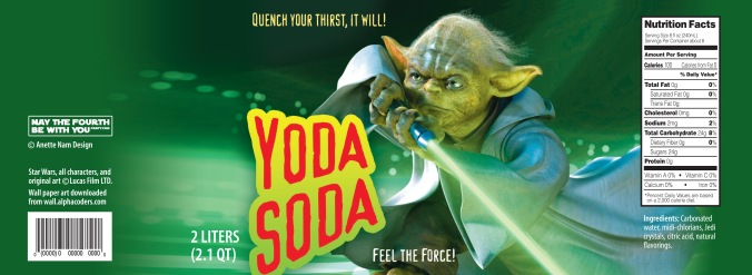 Star Wars Food: Downloadable Yoda Soda 2 Liter Label /// Check out our blog for lots of Star Wars Party food recipes and downloadable labels! Great for a Birthday Party or a May the Fourth be with you Party. /// #starwars #starwarsparty #maythefourthbewithyou #starwarsbirthday #starwarsfood #soda #yoda maythefourthbewithyoupartyblog.com