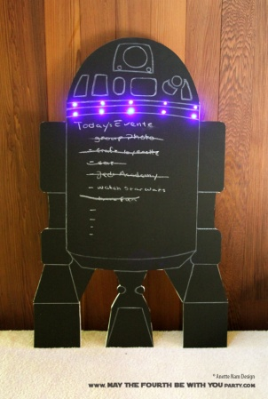 DIY Star Wars Party R2-D2 Chalkboard Sign /// We add new Star Wars crafts and may the fourth be with you party ideas to our blog every week! /// #starwars #theforceawakens #r2d2 #chalkboard #starwarsparty #maythefourthbewithyou #party #birthday #sign /// maythefourthbewithyoupartyblog.com