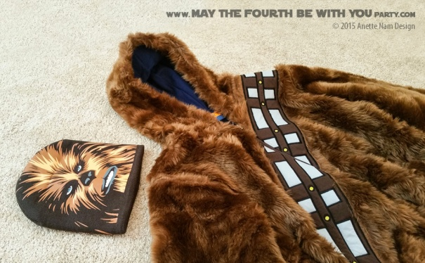 Chewbacca Jacket and Hat. Check out all our other Star Wars costumes on our blog! #starwars #starwarsparty #maythefourthbewithyou #starwarsbirthday #starwarscostume #halloweencostume #chewbacca #wookiee #cosplay maythefourthbewithyoupartyblog.com