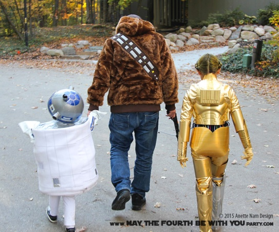 DIY C3PO and R2D2 costumes with Chewbacca. Check out all our other Star Wars halloween costumes on our blog! #c3po #r2d2 #chewbacca #starwars #starwarsparty #maythefourthbewithyou #starwarsbirthday #starwarscostume #halloweencostume #cosplay maythefourthbewithyoupartyblog.com