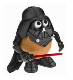 Darth Tater Mr. Potato head. Check out our blog for lots more Star Wars ideas. maythefourthbewithyoupartyblog.com  #starwars #starwarsparty #maythefourthbewithyou #starwarsbirthday #darthvader