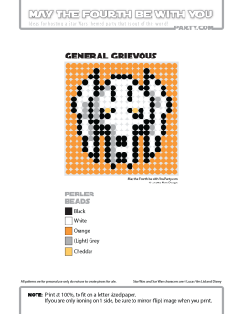 Grievous perler pattern cross stitch
