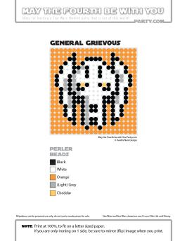 Grievous perler pattern cross stitch