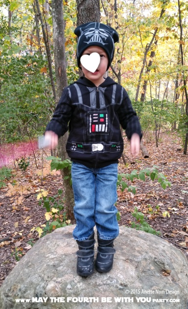 Darth Vader Jacket and Hat /// Check out all our other Star Wars costumes on our blog! #starwars #starwarsparty #maythefourthbewithyou #starwarsbirthday #starwarscostume #halloweencostume #darthvader #cosplay maythefourthbewithyoupartyblog.com
