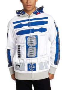 R2-D2 Jacket/Hoodie /// Check out all our other Star Wars costumes on our blog! #starwars #starwarsparty #maythefourthbewithyou #starwarsbirthday #starwarscostume #halloweencostume #r2d2 #cosplay maythefourthbewithyoupartyblog.com
