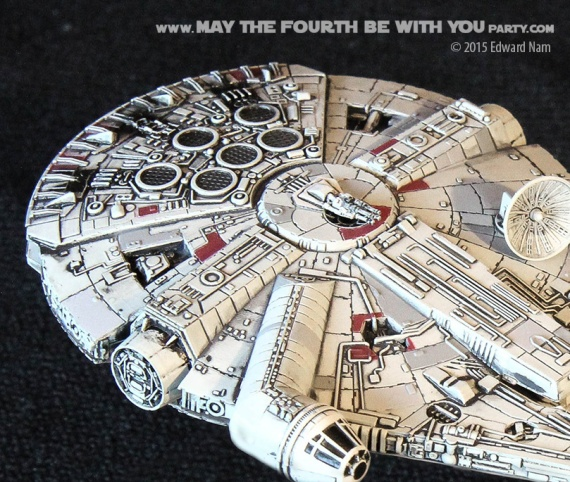 Millennium Falcon. Star Wars X-Wing Miniatures Game /// We add new Star Wars fun on our blog every week! /// #starwars #xwing #theforceawakens #xwingminiaturesgame #boardgames #review #millenniumfalcon /// maythefourthbewithyoupartyblog.com