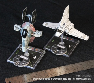 Slave 1 Imperial Shuttle TIE Fighter. Star Wars X-Wing Miniatures Game /// We add new Star Wars fun on our blog every week! /// #starwars #theforceawakens #xwingminiaturesgame #boardgames #review #xwing #slave1 #imperialshuttle #tiefighter/// maythefourthbewithyoupartyblog.com