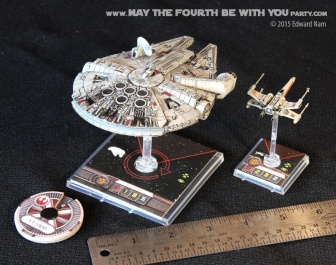 X-Wing Millennium Falcon. Star Wars X-Wing Miniatures Game /// We add new Star Wars fun on our blog every week! /// #starwars #theforceawakens #xwingminiaturesgame #boardgames #review #xwing #millenniumfalcon /// maythefourthbewithyoupartyblog.com