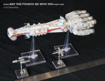 X-Wing Y-wing Tantive IV. Star Wars X-Wing Miniatures Game /// We add new Star Wars fun on our blog every week! /// #starwars #theforceawakens #xwingminiaturesgame #boardgames #review #xwing #ywing #tiefighter #tantiveiv #tantive4 /// maythefourthbewithyoupartyblog.com