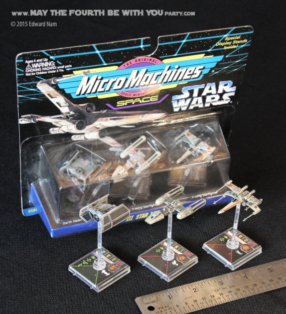 X-Wing Y-wing TIE Fighter Micromachines. Star Wars X-Wing Miniatures Game /// We add new Star Wars fun on our blog every week! /// #starwars #theforceawakens #xwingminiaturesgame #boardgames #review #xwing #ywing #tiefighter #micromachines /// maythefourthbewithyoupartyblog.com
