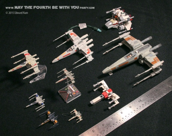 X-Wings size comparisons. Micromachines. Hallmark Ornamnet. Star Wars X-Wing Miniatures Game /// We add new Star Wars fun on our blog every week! /// #starwars #theforceawakens #xwingminiaturesgame #boardgames #review #hallmark #micromachines /// maythefourthbewithyoupartyblog.com