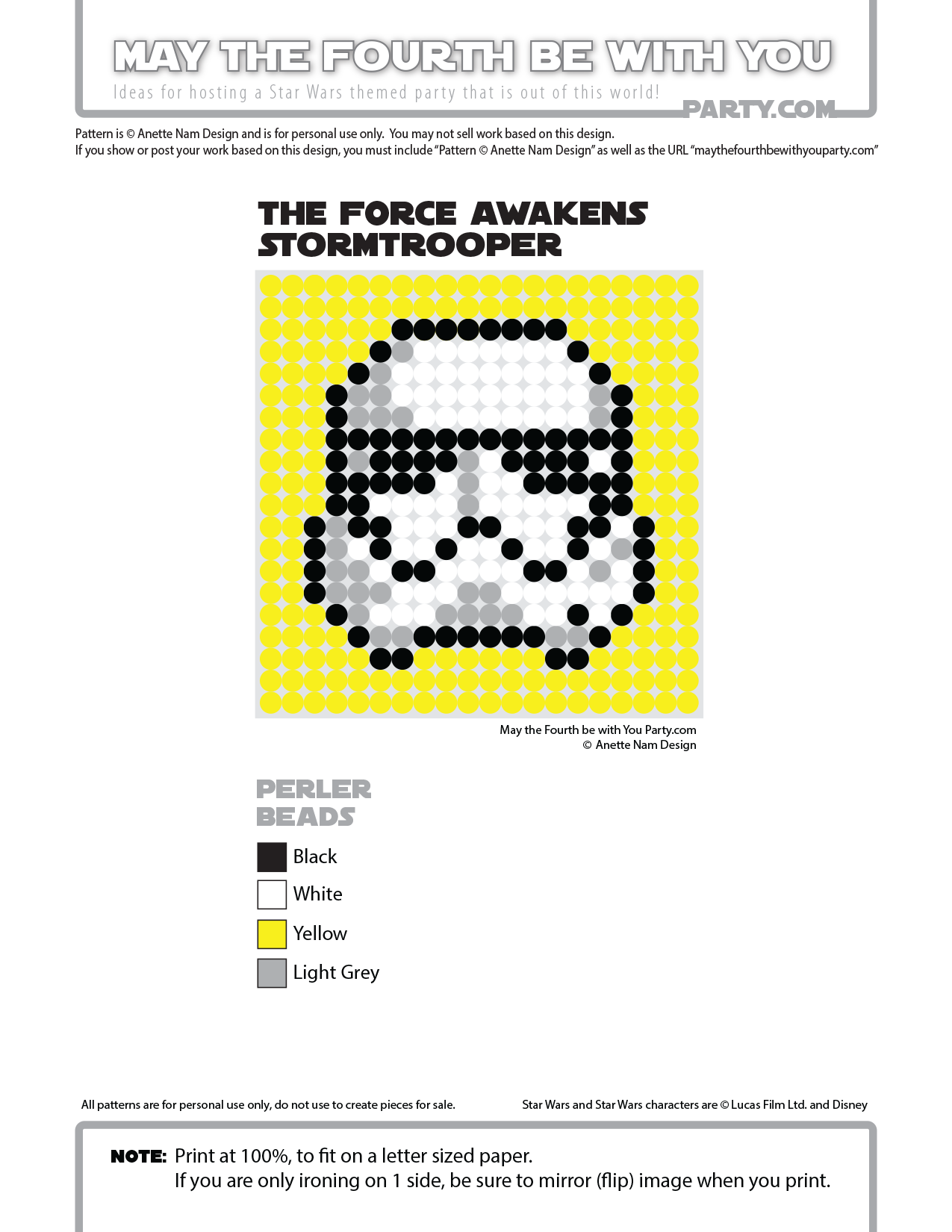 The Force Awakens Stormtrooper Perler Pixel Pattern | May the Fourth