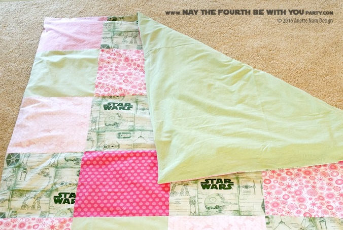 DIY Girls Star Wars Pink and Green quilt comforter cover (sheets) /// We add new Star Wars crafts and fun projects on our blog every week! /// ‪#starwars‬‬‬‬‬‬‬ #comforter #sheets #quilt #sewing #girls #atat #deathstar #tiefighter #tiebomber #atst ‪#theforceawakens‬‬ #sewing #fabric // maythefourthbewithyoupartyblog.com
