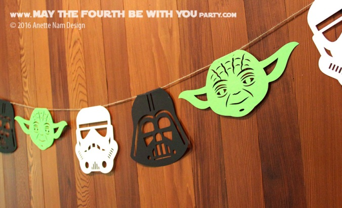 DIY Star Wars Party Garland/Flags with Yoda, Stormtrooper and Darth Vader /// We add new Star Wars crafts and fun to our blog every week! /// #starwars #theforceawakens #yoda #stormtrooper #darthvader #silhouettecameo #diecut #starwarsparty #maythefourthbewithyou #party #birthday/// maythefourthbewithyoupartyblog.com