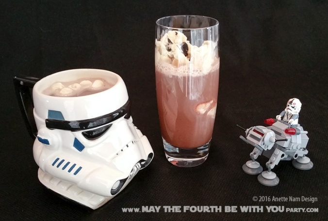 Star Wars Food: Hoth Chocolate /// Check out our blog for lots of Star Wars Party food recipes and downloadable labels! Great for a Birthday Party or a May the Fourth be with you Party. /// #starwars #starwarsparty #theforceawakens #maythefourthbewithyou #starwarsbirthday #starwarsfood #lego #atat #hotchocolate #punch #float #microfighter #oboy// maythefourthbewithyoupartyblog.com