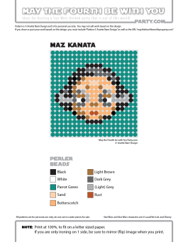 Maz Kanata Perler Pattern. /// We add new patterns to our blog every week! Click the URL and follow us to make sure you don't miss any! /// Star Wars perler, hama bead, cross-stitch, knitting, Lego, pixel pattern /// Note: Patterns are ©, and your work must include © if posted, and can not be sold. See blog for complete ©. #pixel #pixelart #perler #perlerbeads #hama #hamabeads #starwars #crossstitch #lego #knitting #mosaic #maz #mazkanata #theforceawakens maythefourthbewithyoupartyblog.com