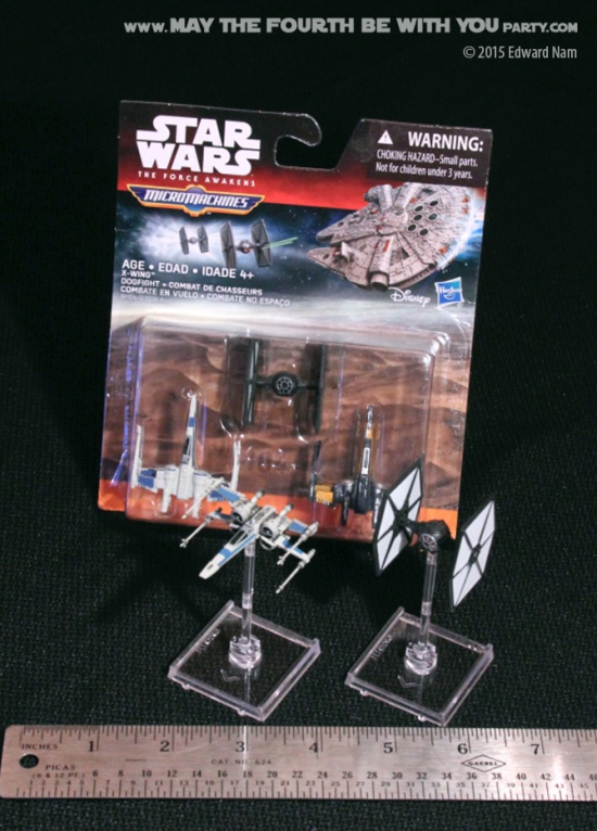 X-Wing Miniatures Game: The Force Awakens compared to Micro Machines. TIE Fighter, Poe's T-70 X-Wing ©maythefourthbewithyouparty.com
