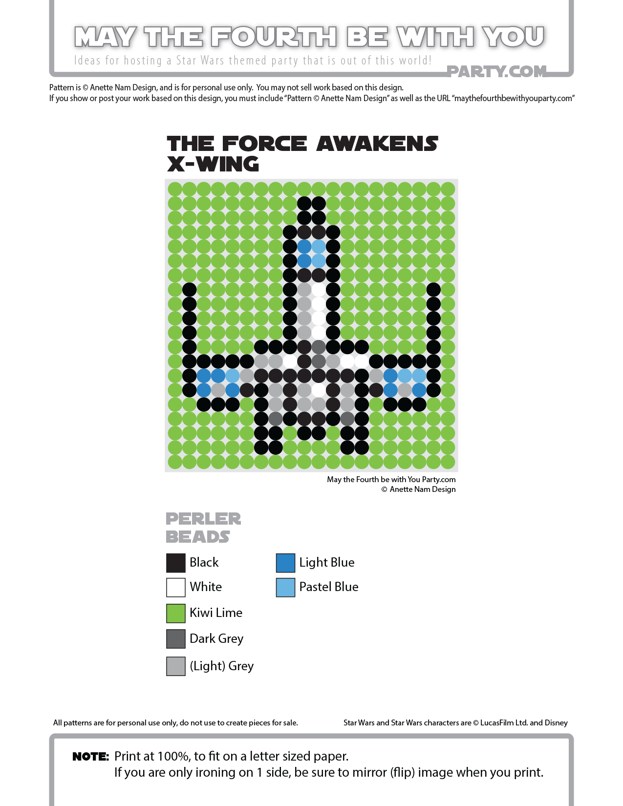 The Force Awakens T 70 X Wing Perler Pixel Patterns May