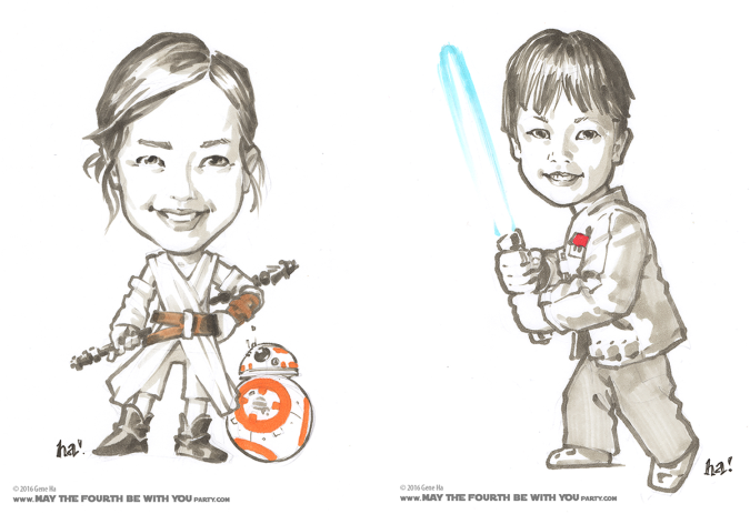 Cosplay marker drawings of kids dressed as Rey and Finn © Gene Ha /// We add new Star Wars posts to our blog every week! /// #starwars #theforceawakens #geneha #cosplay #drawing #starwarsart #rey #finn /// maythefourthbewithyoupartyblog.com
