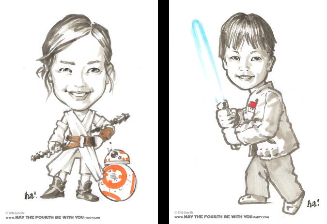Cosplay marker drawings of kids dressed as Rey and Finn © Gene Ha /// We add new Star Wars posts to our blog every week! /// #starwars #theforceawakens #geneha #cosplay #drawing #starwarsart #rey #finn /// maythefourthbewithyoupartyblog.com