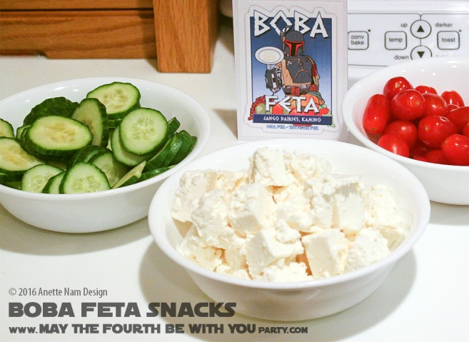 Boba Feta (Boba Fett) Gluten Free Snacks /// Check out our blog for lots of Star Wars Party food recipes and downloadable labels! Great ideas for a Birthday Party or a May the Fourth be with you Party. /// #starwars #starwarsparty #theforceawakens #maythefourthbewithyou #starwarsbirthday #starwarsfood #bobafett #feta #glutenfree #foodart #recipe #cheese #appetizer #salad #snacks// maythefourthbewithyoupartyblog.com
