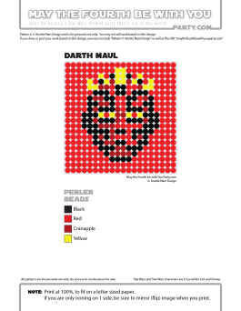 Darth Maul Perler Pattern. /// We add new patterns to our blog every week! Click the URL and follow us to make sure you don't miss any! /// Star Wars perler, hama bead, cross-stitch, knitting, Lego, pixel pattern /// Note: Patterns are ©, and your work must include © if posted, and can not be sold. See blog for complete ©. #pixel #pixelart #perler #perlerbeads #hama #hamabeads #starwars #crossstitch #lego #knitting #mosaic #diy #darthmaul #phantommenace maythefourthbewithyoupartyblog.com