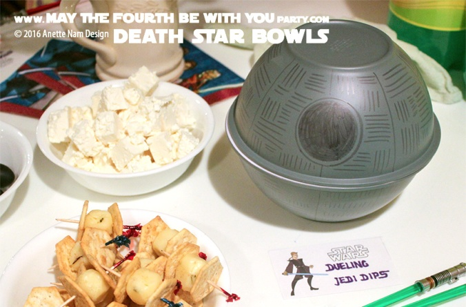 DIY Death Star Bowls with Dueling Jedi Dips. First May the fourth be with you party /// We add new Star Wars crafts and food to our blog every week! /// #starwars #theforceawakens #deathstar #jedi #foodart #funwithfood #maythefourthbewithyou #diy #party #birthday #maythe4th #dip #peppers #tiefighter /// maythefourthbewithyoupartyblog.com