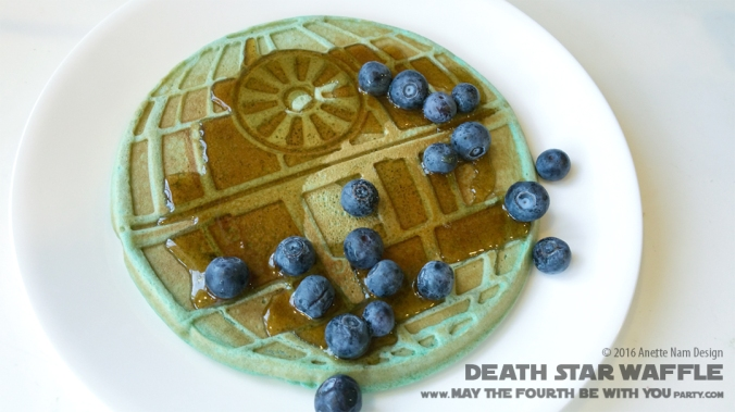 Death Star Waffle with TIE fighter and Bantha Milk/ Check out our blog for lots of Star Wars Party food recipes and downloadable labels! Great ideas for a Birthday Party or a May the Fourth be with you Party. / #starwars #starwarsparty #theforceawakens #maythefourthbewithyou #starwarsbirthday #starwarsfood #deathstar #waffle #wafflemaker #banthamilk #foodart #recipe #tiefighter #breakfast #rogueone / maythefourthbewithyoupartyblog.com