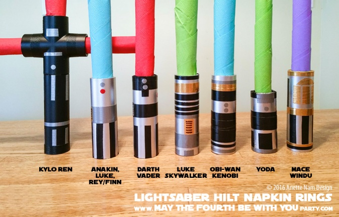 DIY Star Wars Lightsaber Hilt Napkin Rings with Napkin Lightsabers / We add new Star Wars crafts and fun to our blog every week! / #starwars #theforceawakens #rogueone #rebels #yoda #darthvader #luke #lukeskywalker #rey #kyloren #finn #anakin #anakinskywalker #macewindu #obiwan #obiwankenobi #darthmaul #starwarsparty #maythefourthbewithyou #party #birthday #lightsaber #napkinfolding #napkins #pvcpipe / maythefourthbewithyoupartyblog.com